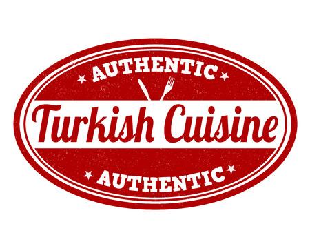 Turkish cuisine grunge rubber stamp on white, vector illustration Vector