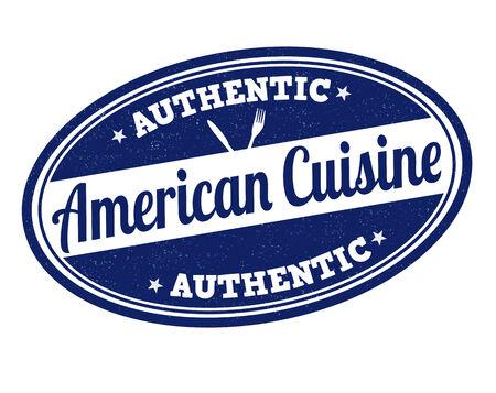 american cuisine: American cuisine grunge rubber stamp on white, vector illustration