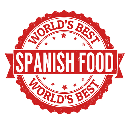spanish food: Spanish food grunge rubber stamp on white, vector illustration