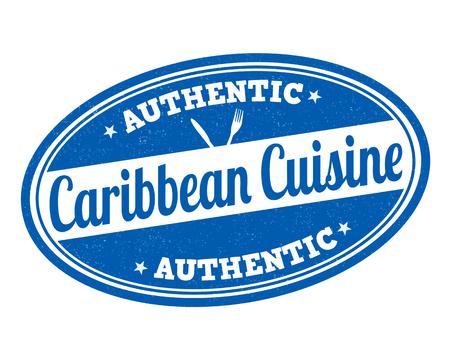 Caribbean cuisine grunge rubber stamp on white, vector illustration