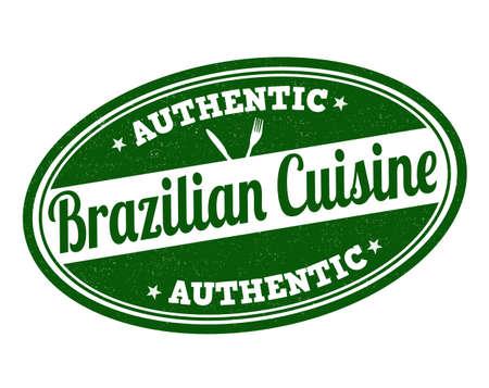 Brazilian cuisine grunge rubber stamp on white, vector illustration Vector