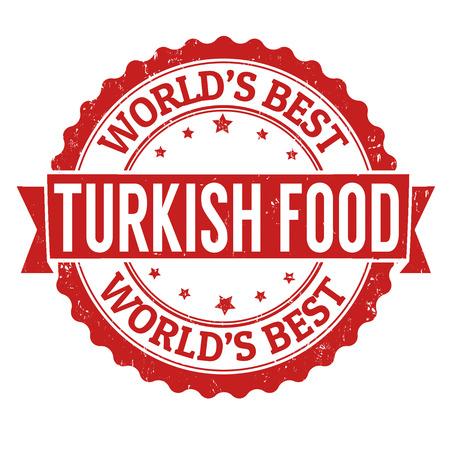 Turkish food grunge rubber stamp on white, vector illustration Vector