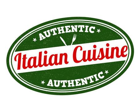 Italian cuisine grunge rubber stamp on white, vector illustration Vector