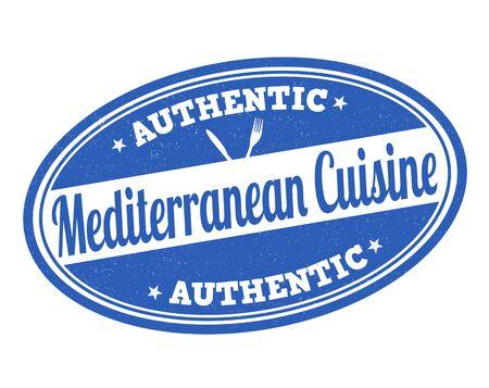 Mediterranean cuisine grunge rubber stamp on white, vector illustration Vector