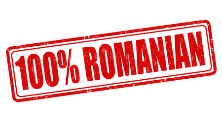 romanian: 100 percent romanian grunge rubber stamp on white, vector illustration
