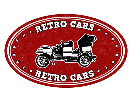 Retro cars grunge rubber stamp on white, vector illustration