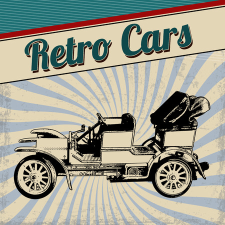 Retro cars poster design. Vintage grunge retro cars concept, vector illustration Vector