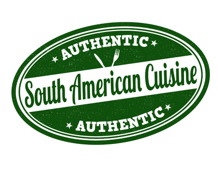 american cuisine: South American cuisine grunge rubber stamp on white, vector illustration
