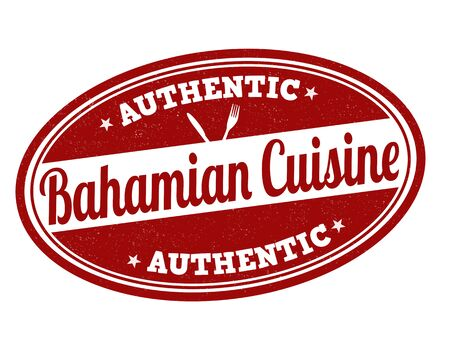 bahamian: Bahamian cuisine grunge rubber stamp on white, vector illustration