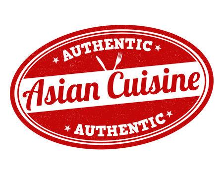 アジア料理グランジ スタンプ白、ベクトル イラスト