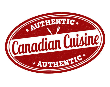 canada stamp: Canadian cuisine grunge rubber stamp on white, vector illustration