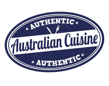 australia stamp: Australian cuisine grunge rubber stamp on white, vector illustration Illustration