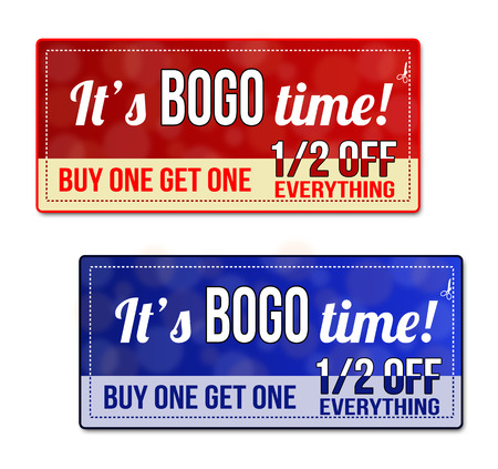 bogo: Bogo, Buy One Get one Free Sale coupon, voucher, tag. Red and blue template with frame, dotted line (dash line), vector illustration