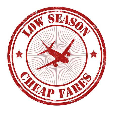 Low season, cheap fares grunge rubber stamp on white, vector illustration  イラスト・ベクター素材