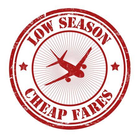 ローシーズン、格安運賃ベクトル イラスト白グランジ ゴム印