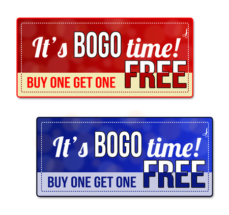 Bogo, Buy One Get one Free Sale coupon, voucher, tag. Red and blue template with frame, dotted line (dash line), vector illustration Vector