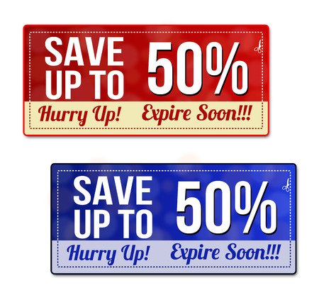 hurry up: Save up to 50 percent coupon, voucher, tag. Red and blue template with frame, dotted line (dash line), vector illustration