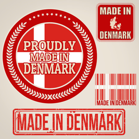 Set of stamps and labels with the text made in Denmark written inside on retro background, vector illustration Vector