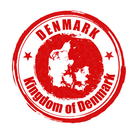 identifier: Grunge rubber stamp with the name and map of Denmark, vector illustration
