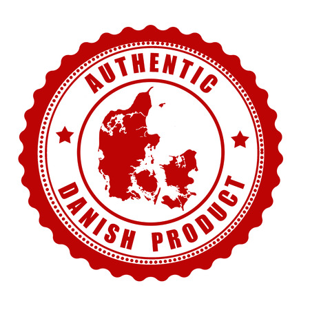 danish: Authentic Danish product stamp or label with map of Denmark inside , vector illustration