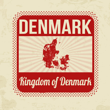 denmark: Grunge rubber stamp with the name and map of Denmark on vintage background, vector illustration