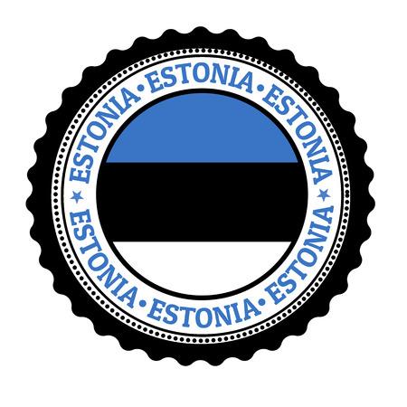 estonia: Stamp or label with Estonia Flag and the word Estonia written inside, vector illustration Illustration
