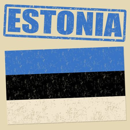 estonia: Estonia grunge flag on vintage background and Estonia rubber stamp, vector illustration Illustration