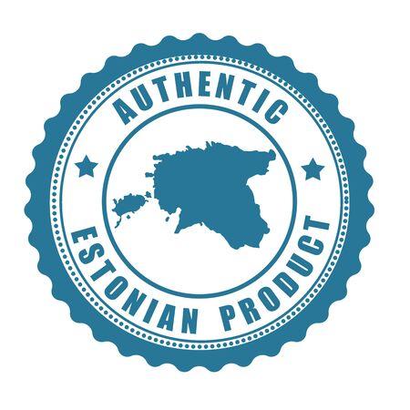 estonia: Authentic Estonian product stamp or label with map of Estonia inside , vector illustration