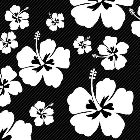 weiß: Nahtlose Muster mit Hibiskus Blumen auf schwarzem Hintergrund, Vektor-Illustration