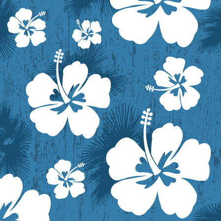 Seamless pattern with Hibiscus flowers on blue background, vector illustration