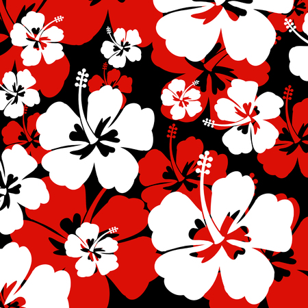 Seamless pattern with red and white Hibiscus flowers on black background, vector illustration