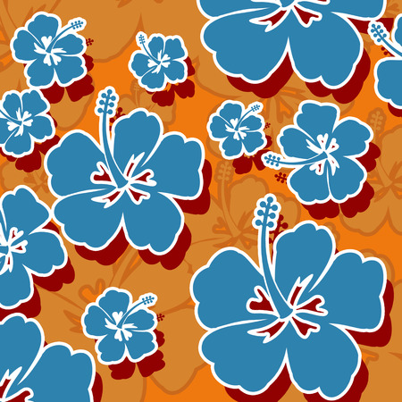Seamless pattern with blue Hibiscus flowers on orange background, vector illustration