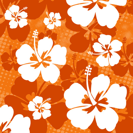stamen: Seamless pattern with Hibiscus flowers on orange background, vector illustration