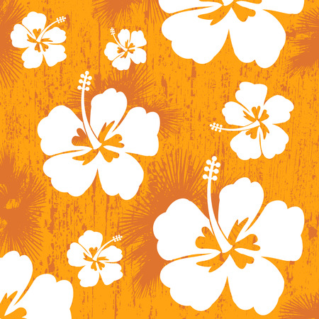 Seamless pattern with Hibiscus flowers on orange background, vector illustration Vector