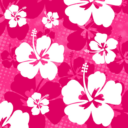Seamless pattern with Hibiscus flowers on purple background, vector illustration Vector
