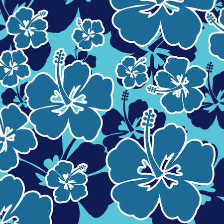 hawaiana: Patrón sin fisuras con las flores del hibisco en el fondo azul, ilustración vectorial
