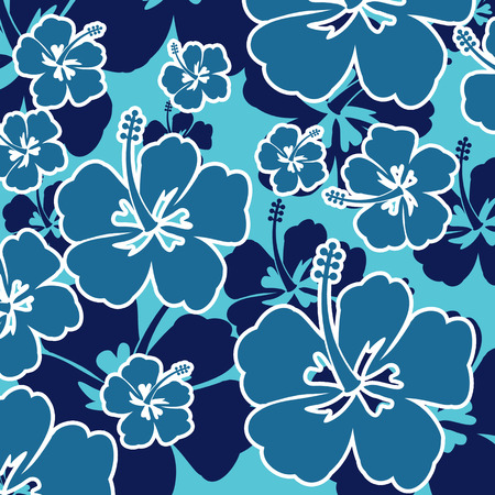 repeat square: Pattern with Hibiscus flowers on blue background, vector illustration Illustration