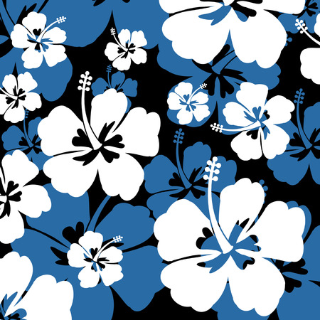 Seamless pattern with white and blue Hibiscus flowers on black background, vector illustration Ilustração
