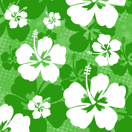 Seamless pattern with Hibiscus flowers on green background, vector illustration Vector