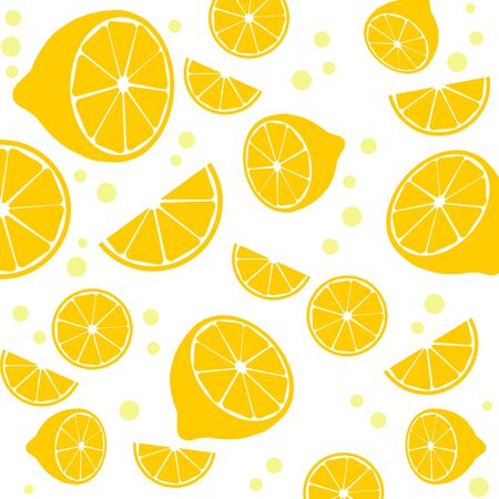 lime juice: Seamless pattern with lemons on white background, vector illustration