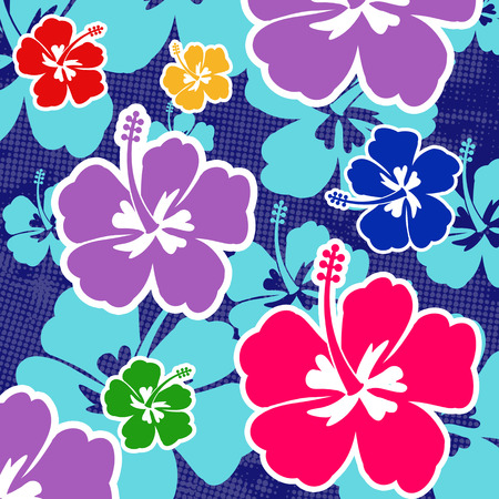 Seamless pattern with colored Hibiscus flowers on blue background, vector illustration Vector