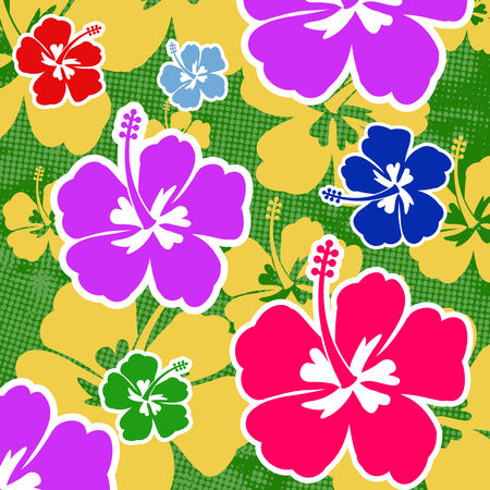 lila: Seamless pattern with colored Hibiscus flowers on green background, vector illustration