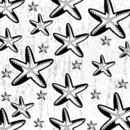 sea star: Pattern with black star fish on white grunge background, vector illustration