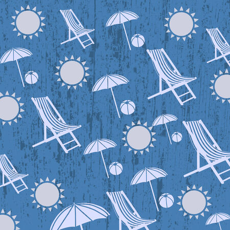 chaise: Pattern for summer beach on blue grunge background, vector illustration Illustration
