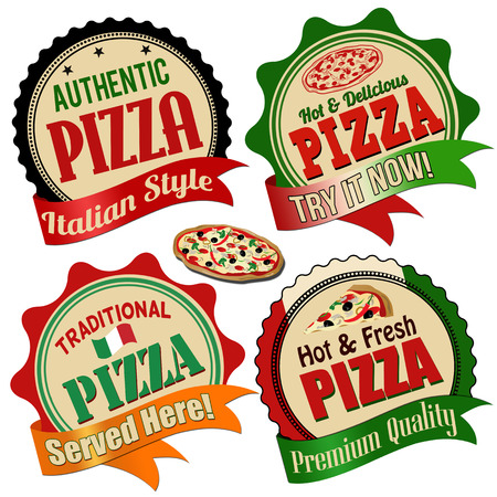 Promotional label, sticker or stamps for pizza on white, vector illustration Vector