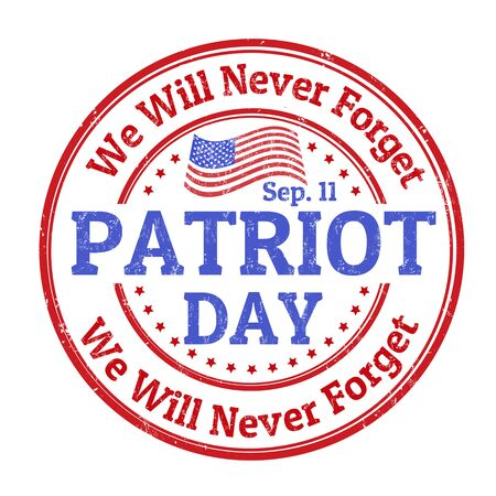 national hero: Grunge rubber stamp with the text Patriot Day written inside, vector illustration