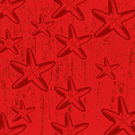 Pattern with star fish on red grunge background, vector illustration Vector