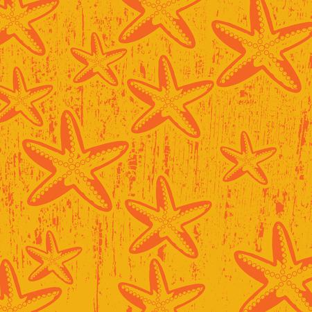 Pattern with star fish on orange grunge background, vector illustration Vector