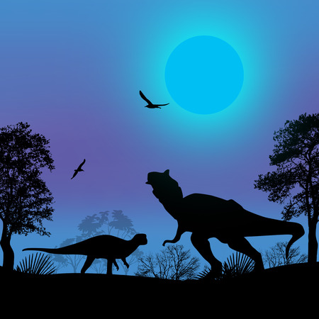 mesozoic: Dinosaurs silhouettes in beautiful blue landscape at night, vector illustration