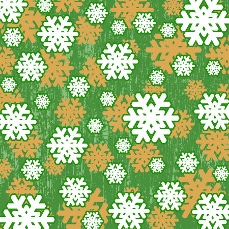 green grunge background: Pattern with snowflakes on green grunge background, vector illustration